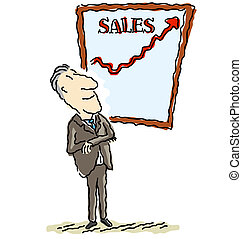 Sales are up - Illustration of a happy businessman viewing...