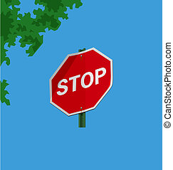 Stop sign - Vector illustration of a street sign –...