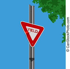Yield sign - Vector illustration of a street sign –...