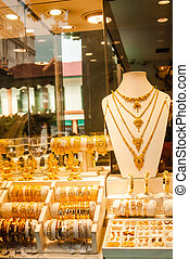 Traditional indian gold jewellery for sale in the shop -...