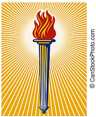 Flaming torch - Illustration of a flaming torch with...