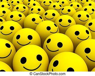 Happy smiles - Many bright yellow happy smiles.