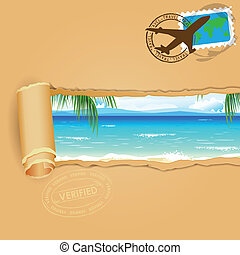 Travel Background for Sea Beach - illustration of sea beach...