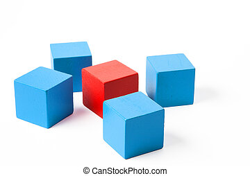 Blue and Red Clubes - One red cube surrounded by a cluster...