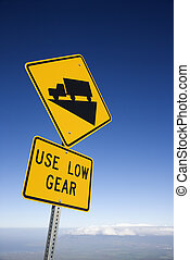 Steep grade truck sign - Steep grade truck road sign in...
