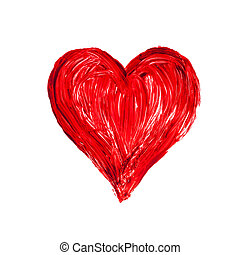 romantic love heart on a white background, painted, close-up...