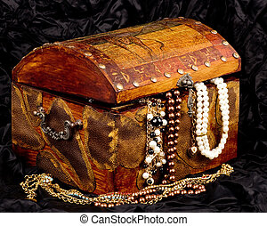 wooden treasure trunk with jewelry - Vintage wooden treasure...