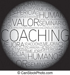 Coaching concept related words in tag cloud