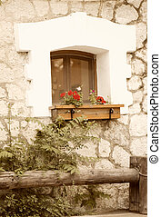 Rural cottage with window