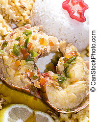 caribbean lobster tail dinner with rice french fried...