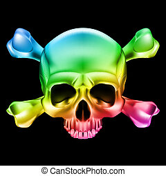 Multi-colored skull and bones. Illustration on black...
