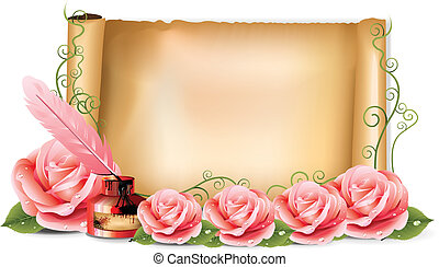 Pink Roses Paper Ink vector