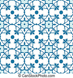 Seamless Tile Pattern, Moroccan Style in Blue and White