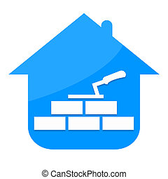 Construction home - House, bricks and builder tools isolated...