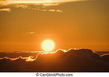 sol, levantamiento, encima, nubes