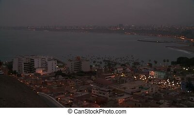 Lima At Night, Peru - video footage of a panoramic view of...