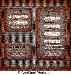 Modern rusted web card login form retro antique background