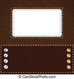 Brown leather background with metal rivets