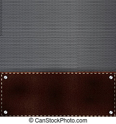 Brown leather and metal grid background and rivets