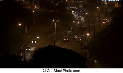 Traffic at Night, Lima - traffic at night in Lima, Peru
