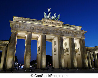 Brandenburger Tor At Dusk Berlin - Frontal view of...