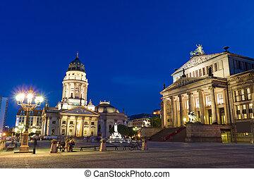 The Gendarmenmarkt in Berlin illuminated at night