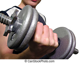Dumbell Fist - Man holding a 10 pound dumbell in his hand