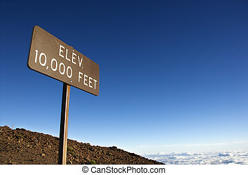 Elevation sign in Haleakala, Maui. - Elevation sign in...