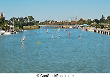 Windsurfing at Seville river - Windsurfig competition at...