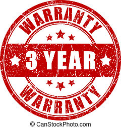Three year warranty, vector stamp