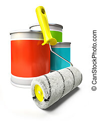 Paint cans and roller isolated on white background