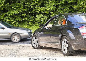 Car on the intersection - Car on the intersection of an...