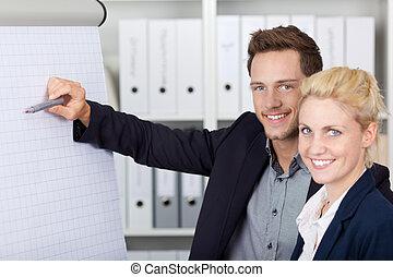Happy Businesspeople Working On Flipchart