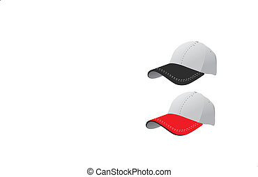 red and black caps - two caps on white background
