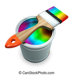 Bank with rainbow  paint and brush illustration