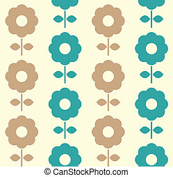 Retro flowers seamless background ( blue and brown ) -...