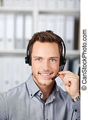 Young Man With Headset - Closeup portrait of a smart young...