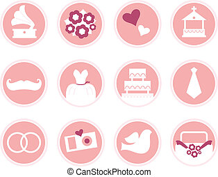 Wedding icons in retro style isolated on white pink -...