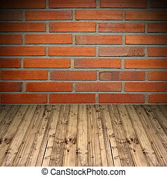old brick wall and wooden floor - empty background with old...