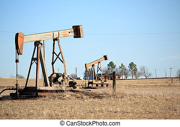 Two oil lease pumps in north Texas