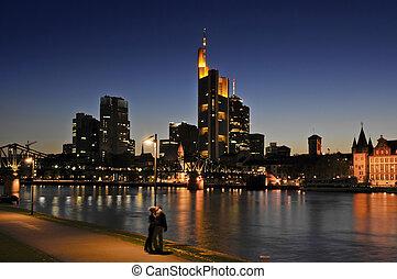 Frankfurt At Night - Night shot of Frankfurt / Main skyline...