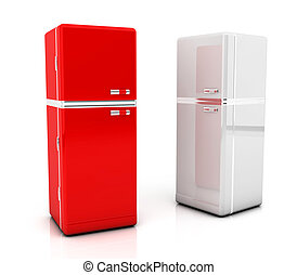Two refrigerator - 3d Two refrigerator in red and white