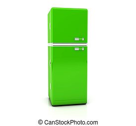 Green refrigerator - 3d green refrigerator on white...