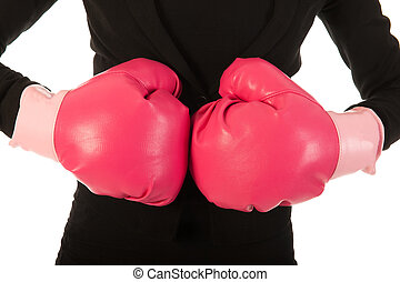 Enjoying fighting in business - Young woman is enjoying a...