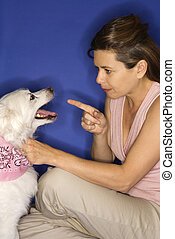 Woman reprimanding white dog. - Caucasian prime adult female...