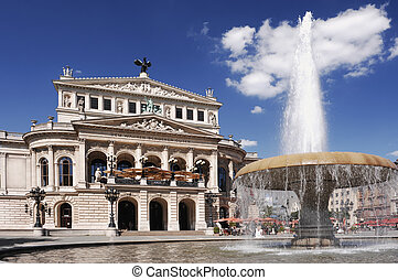 Alte Oper Frankfurt on a summer day. The building was opened...