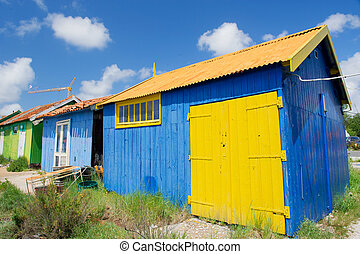 Colorful wooden cabins