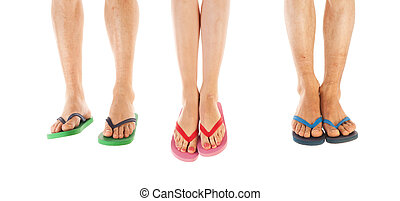 Feet in summer flip flops - Many feet in colorful summer...