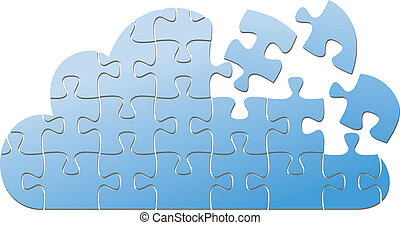 Cloud computing IT puzzle solution - Pieces of jigsaw puzzle...