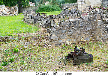 Ruins in oradour sur Glane - Destroyed Oradour sur Glane in...